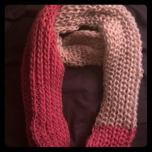 Pink and white scarf, hand crocheted